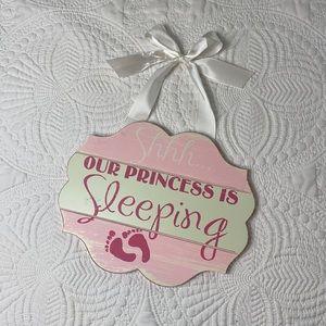 Shhh… Our Princess is sleeping wood hangable sign